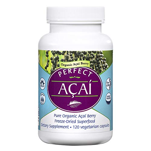 Perfect Supplements - Organically Grown Perfect Acai - Freeze-Dried Acai Supplement- 120 Vegetable Capsules - Freeze Dried Acai Berry