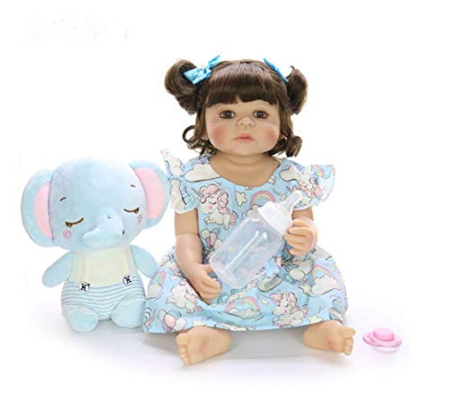 UBTY Eyes Open Wig Girl Reborn Baby Doll Full Silicone Vinyl Toddler Birthday Gifts 22inch 55cm