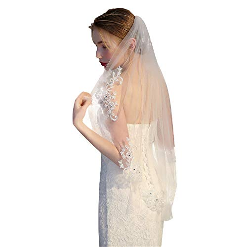 1T Wedding Veils Ivory Lace Edge Wedding Accessories with Beads and Appliques