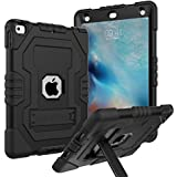 Case for iPad 9.7 2018,Case for iPad 2017 9.7,Case for iPad 6th Generation,Digital Hutty 3 in 1 Shockproof Heavy Duty Full-Body Protective Case with Kickstand Black