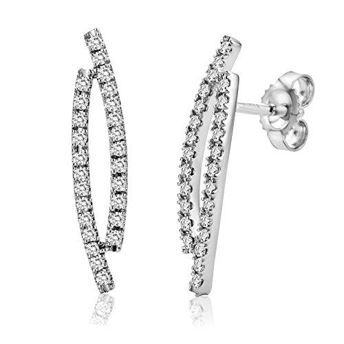 Miore - M0322W - Boucles d'Oreilles Pendantes Femme - Or Blanc 750/1000 (18 carats) 1.78 gr - Diamant 0.31 cts