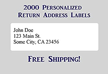 amazon com 2000 printed personalized return address labels 1 2