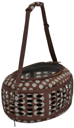 Petmate 21789 Curvations Underseat Small Pet Traveler with Dots, Brown/Gray (Shelter Petmate)