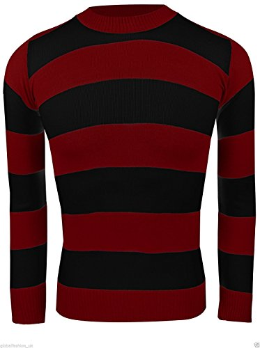 Where's Wally Characters Costumes (Global Fashion Little Boys' Knitted Jumper Fancy Character Sweater Casual Stripped Small(7-8 Years) Red & Black Dennis Jumper)