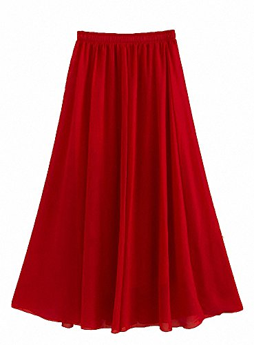 Afibi Mujeres Gasa Retro Largo Maxi Falda Vendimia Vestir Vino rojo
