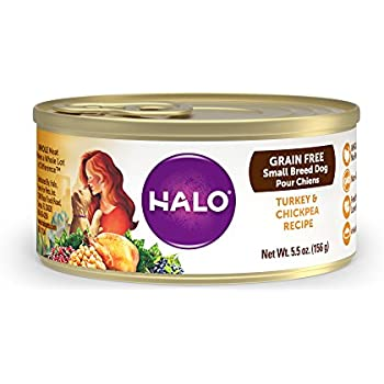 Halo Holistic Wet Dog Food for Small Breed Dogs, Grain Free Turkey and Chickpea Recipe, 5.5 OZ of Canned Small Breed Dog Food, 12 Cans