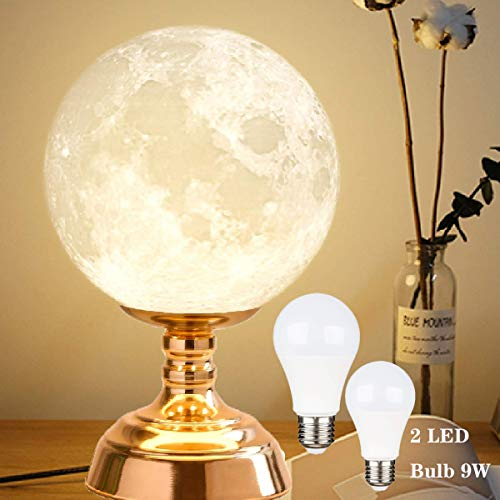 8.9 Inch Moon Lamp, 3D Printed Moon Night Table Lamp, Moon Nightstand Lamp with 9W LED Bulb(1 Yellow Bulb and 1 White Bulb)]()