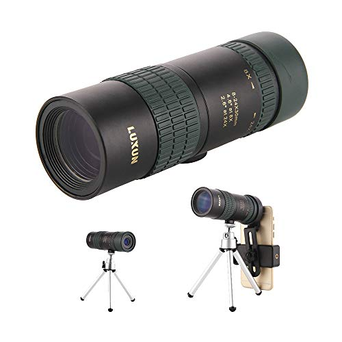 High Power Mini Zoomable Monocular Telescopes,8-24 x 30 Compact Handheld Spyglass with Quick Smartphone Tripod and Mount Adapter for Bird Watching, Hiking,Hunting,Climbing