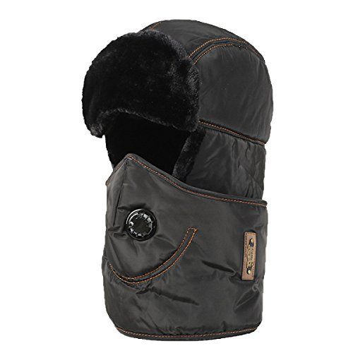 Sombrero De Bombardero Caliente Para Hombre Máscara A Prueba De Viento Gorro De Esquí Soldado Trampero Sombreros De Caza Unisex O Esquí De Patinaje Senderismo Black