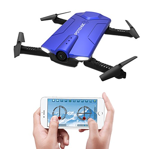 Potensic Drone with Camera, F188WH RC Drone Quadcopter With 720P HD WiFi Camera Live Video Feed RTF 4 Channel 2.4GHz Altitude Hold &Foldable Arms Function - Blue