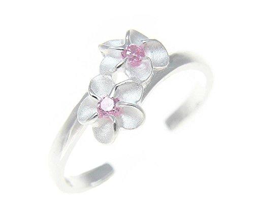 925 sterling silver Hawaiian double plumeria flower pink cz open toe (Sterling Silver Open Double Flower)