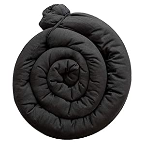 Kookoolon Organic Liner Snake Padded Pillow for Crib and Bed – 79″ Organic Cotton Solid color to match any Nursery Design For Boys and Girls – for Undisturbed Sleep. Machine Washable (Solid Off Black)
