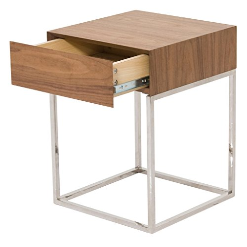Moe's Home Collection Chio Side Table with Drawer, Walnut
