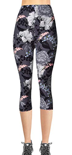 Floral Girls Capris - VIV Collection Junior Size Printed Brushed Capris (Ageless Blossom)