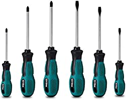 6pcs Screwdriver Set- Heavy Duty Chrome Vanadium Steer Made,Magnetic Screwdriver with 3 Flat& 3 Cross Head,Case Package