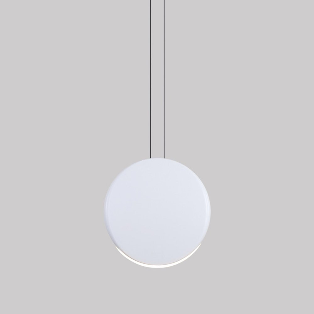 Nordic Postmodern Single Head Round 5/9W LED Aluminum Pendant Lamp Creative Living Room Dining Room Bar Bedroom Bedside Double-Hanging-Line 4 Colors 2 Size Chandelier (Design : WHITE-S)