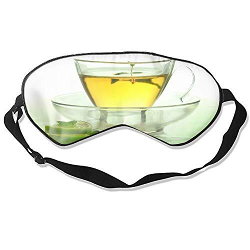 Sleep Eye Mask For Sleeping Tea Green Lime Mint Cup Glass Saucer Adjustable Natural Silk ()