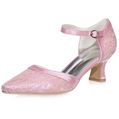 Sarahbridal Bridal Wedding Lace Party Pointed Toe Shoes Evening Prom Low Heels for Girls Size SZXF0723-06 (4 UK - 7.5 UK) Pink hkXO6