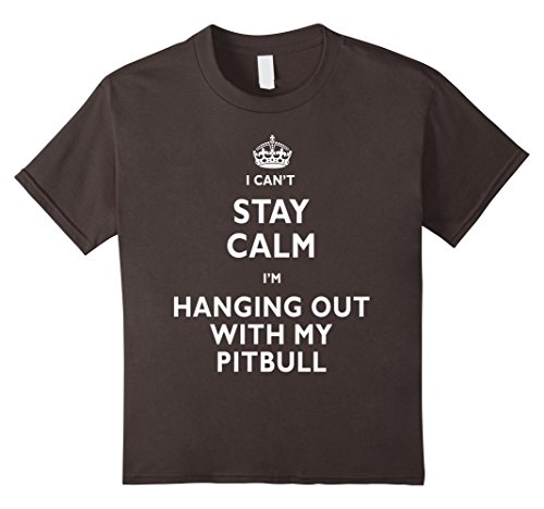 [Kids Stay calm I'm hanging out with my pitbull funny t-shirt 10 Asphalt] (Costumes For Dogs With Cones)