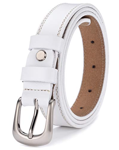 Ayli Women's Jean Belt, Classic Buckle Handcrafted Genuine Leather Belt, Free Gift Box, White, Fits Waist 28
