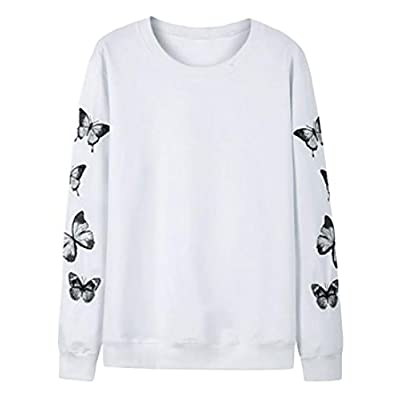 Top Pandapang Mens Cozy Butterfly Embroidery Sweatshirt Long Sleeve Pullover Tops for sale