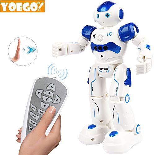(Yoego Remote Control Robot, Gesture Control Robot Toy for Kids, Smart Robot with Learning Music Programmable Walking Dancing Singing, Rechargeable Gesture Sensing Rc Robot Kit (Blue))