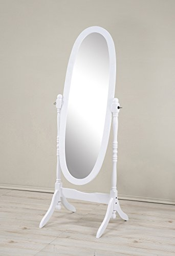 Roundhill Furniture Traditional Style Wood Cheval Floor Mirror, White (White Cheval Mirror)