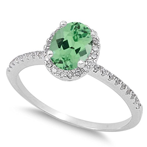 Oval Green Natural Emerald - 925 Sterling Silver Faceted Natural Genuine Green Emerald Oval Halo Ring Size 4