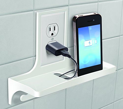 IdeaWorks Wall Outlet Organizer Stores, Organizes, And Charges Your Phone, Electric Toothbrush, and Shavers,White,9