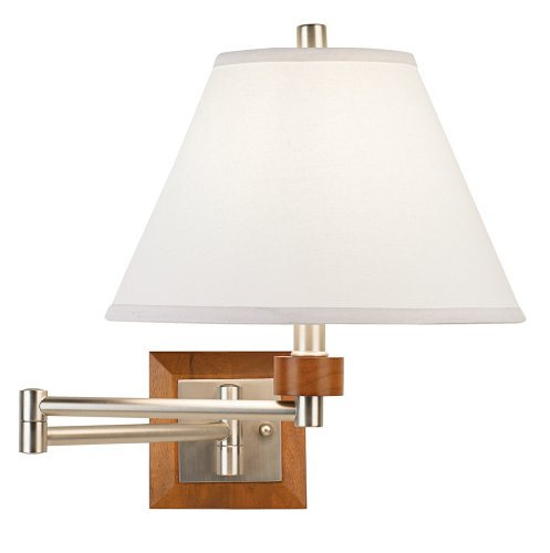 Brushed Steel Wall Swing - Brushed Steel and Wood Plug-In Swing Arm Wall Lamp