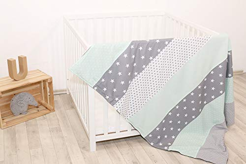 Soft Cotton Baby Blanket by ULLENBOOM | Star/Checkered Patchwork Design | 39