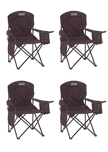Coleman Portable Camp Chair with Built in Drinks Cooler (Black/Set of 4)