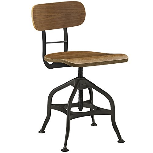 Modway Mark Industrial Farmhouse Steel Metal Adjustable Dining Stool In Brown With Bentwood Seat