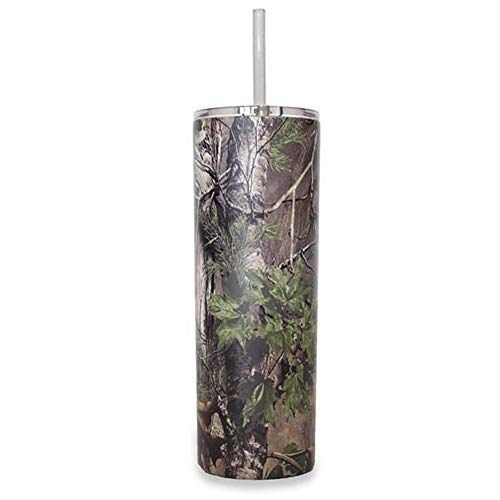 Ice Shaker 20 oz Skinny Tumbler (Camo)- Stainless Steel Tumbler & Insulated Water Bottle With Straw - Vacuum Insulated Tumbler For Hot and Cold Beverages - Tumbler With Lid Holds Ice for 30+ Hours ()