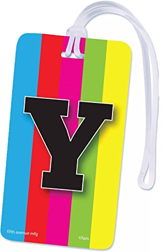 Initial Luggage Tag Letter Y Personalized ID Tag Colorful TV Test Pattern Design (Y)