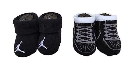 Nike Air Jordan Newborn Baby Graphic 2 Pair Booties (0-6 Months, Black_White (4301) /