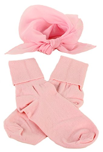 [Light Pink Bobby Socks & Sheer Scarf - Retro 50s Accessory Set] (Dance Costumes For Praise And Worship)