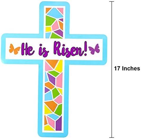He is Risen イースタークロスクラフトキット 教会 日曜学校用 17インチ 24個パック