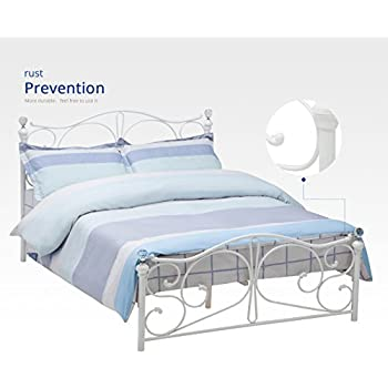 dfm full size metal bed frame cry finial headboard footboard white