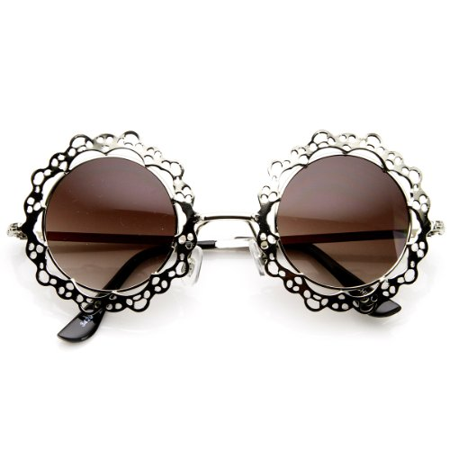 Womens Fashion Metal Cut-Out Lace Circle Round Sunglasses (Silver Lavender) ()