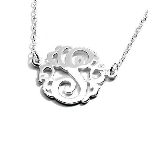 Sterling Silver Single Initial Monogram Necklace (Large(27mm)/ S)