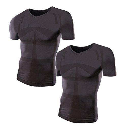 가압 셔츠 모어 압력 맨즈 가압 이너 (V넥/M-L사이즈/흑2 매세트)