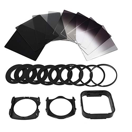 , 9 anillos adaptadores de filtro, 2 soportes y 1 capota Juego de filtros para c/ámara Full-ND2-ND4-ND8-ND16, ND2-ND4-ND8-ND16 Soporte adaptador de filtro y filtros de densidad neutra