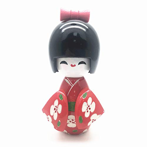 XMHF Floral Japanese Kimono Smiling Girl Kokeshi Doll Toy Red