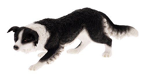 Crouching Border Collie Sheep Dog Decorative Ornament Pet Dog Figurine