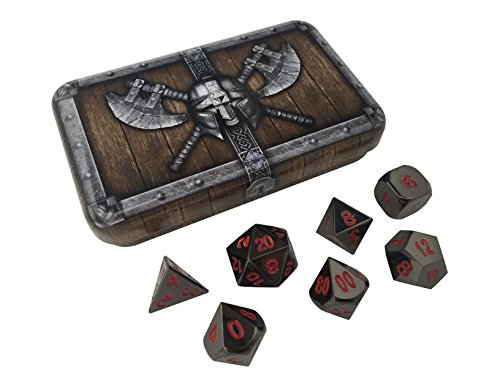 Skull Splitter Dice Smoke and Fire Metal Dice - Shiny Black Nickel with Red Numbers | Solid Metal Polyhedral Role Playing Game (RPG) Dice Set (7 Die in Pack) with - Metal Shiny Black