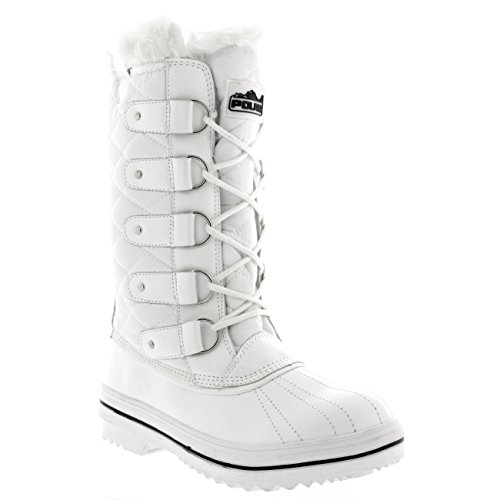 Tall Snow Boot Lined Womens Boot Warm 40 CD0026 Snow Winter Nylon Rain White Waterproof 9 Fur S0fxtqwx