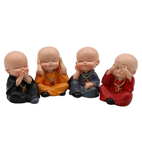 MonkeyJack 4Pcs/Set Kung fu Monk Figurine Miniature Statue Car Interior Ornament Decor