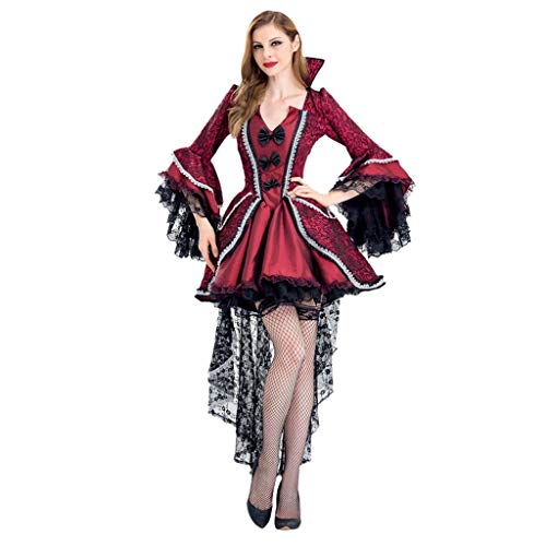 KLFGJ Halloween Women Costumes Cosplay Vampire Witch Vintage Gothic Long Dress Noble Dresses Red