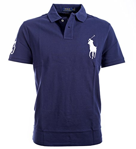 Ralph Lauren Pony (Polo Ralph Lauren Mens Big Pony Custom Slim Fit Mesh Polo Shirt (Large, Navy Blue))